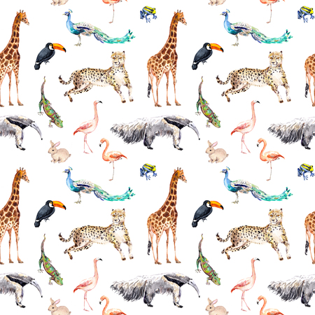 Wild animals and birds - zoo, wildlife - giraffe, cheetah, toucan, flamingo, other. Seamless pattern. Watercolor