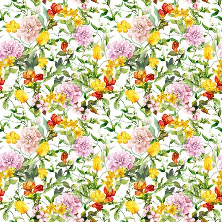 Vintage summer flowers, leaves, herbs. Repeating floral background. Watercolor