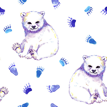 White bear and foot prints. Seamless animals pattern. Watercolor Stockfoto