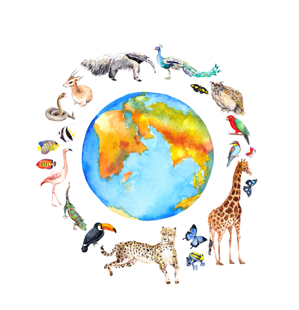 World globe, wild animals, birds - giraffe, cheetah, toucan, flamingo and other . Zoo, wildlife watercolor for Environment day, Earth day