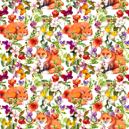 Cute foxes animals, summer meadow flowers and butterflies. Ditsy repeating floral pattern. Watercolor