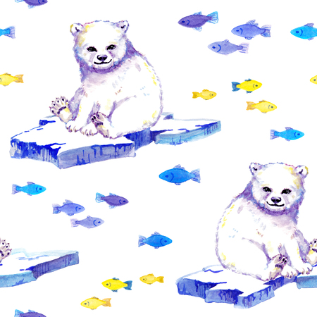 White bear on ice floe with fishes. Seamless background. Watercolor Banque d'images - 108116533