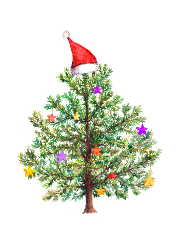 Funny Christmas tree with decorative baubles in red Santas hat. Watercolor Stockfoto