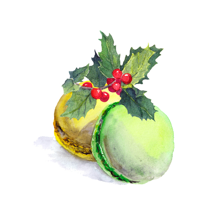 Macaroons cakes and christmas mistletoe. Watercolor painting