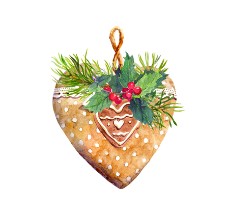 Heart with lace ribbon, branch of spruce tree, mistletoe, cookie. Christmas, new year watercolor for greeting card
