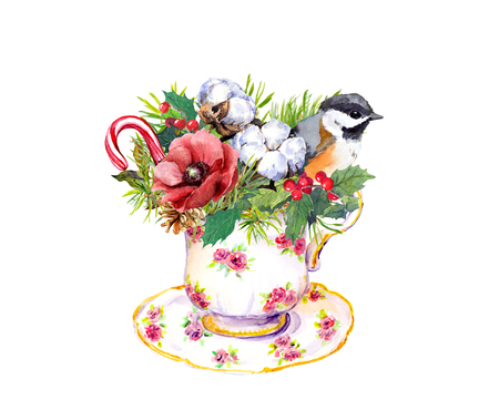 Christmas tea cup - bird, spruce branches, mistletoe, cotton and new year candy cane. Watercolor for teatime