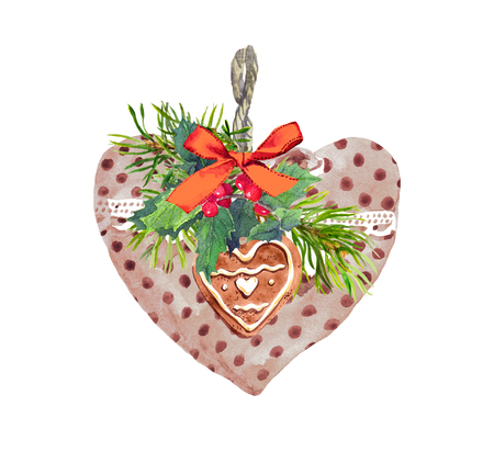 Heart, lace ribbon, branch of christmas tree, mistletoe, cookie. Christmas, new year watercolor for greeting card