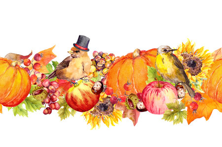Thanksgiving seamless border frame. Birds, fruits and vegetables - pumpkin, apples, berries, nuts, autumn leaves. Watercolor for Thanks giving day