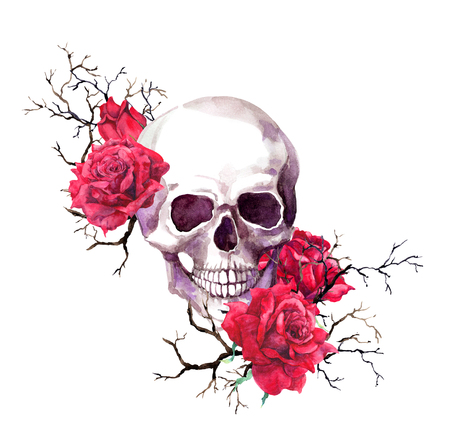 Human skull in branches, red rose flowers. Watercolor for Halloween 免版税图像