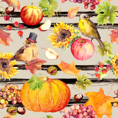 Thanksgiving seamless pattern - birds, fruits and vegetables - pumpkin, apples, chestnuts, autumn leaves. Vintage watercolor on striped background for Thanks giving design