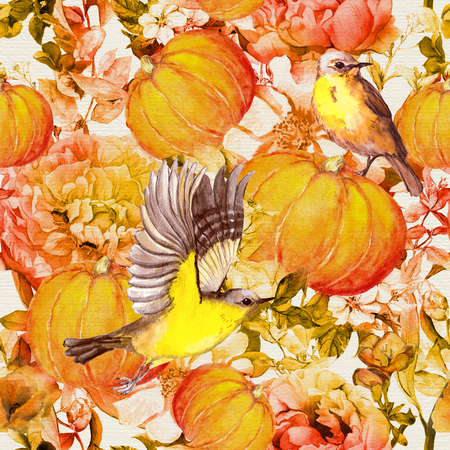 Thanksgiving pumpkins with birds, flowers. Seamless floral pattern for Thanks giving Day. Watercolor painting