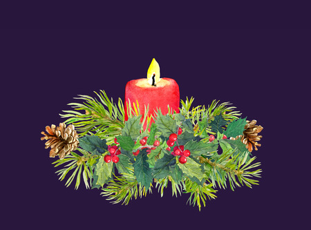Twigs of Christmas tree, candle, mistletoe. Watercolor