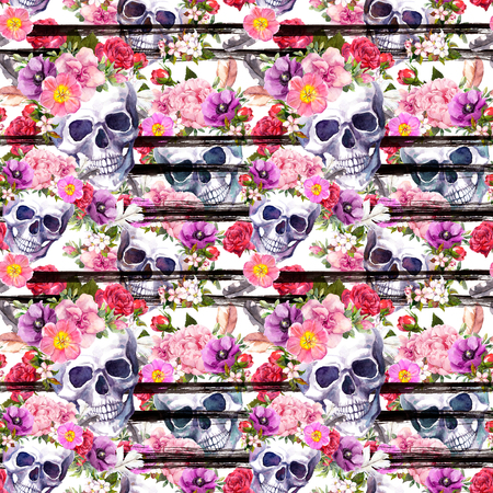 Human skulls, bright flowers for Day of Dead. Seamless pattern with black stripes. Watercolor