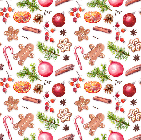 Christmas baubles, gingerbread cookies, spruce tree branches, red berries, cinnamon, candycane, orange. Repeating pattern. Watercolor Stok Fotoğraf