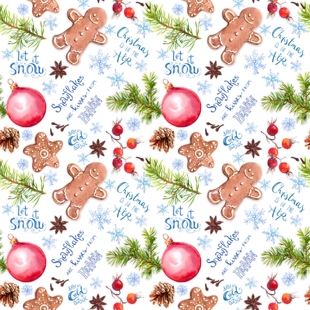 Christmas tree branches, ginger cookies, baubles, snow flakes and lettering quotes about snow and Christmas. Seamless pattern, vintage watercolor Foto de archivo