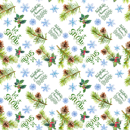 Christmas tree branches, holly, snow flakes, holiday quotes about snow and Christmas. Seamless pattern, watercolor 스톡 콘텐츠