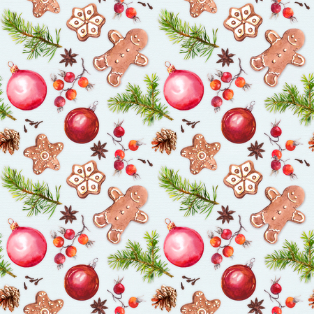 Christmas baubles, ginger bread cookies, christmas tree twigs and species. Seamless pattern. Watercolor