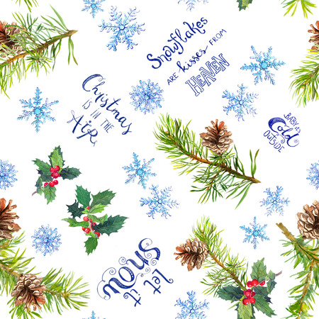 Christmas tree branches, mistletoe, snowflakes, winter quotes about snow and Christmas. Seamless pattern for wrapping paper, watercolor Фото со стока