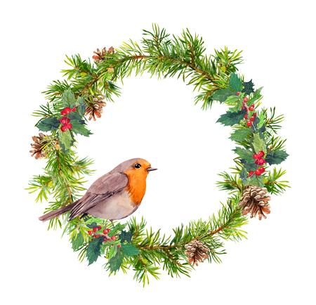 Christmas wreath, robin bird. Christmas watercolor illustration Stock Photo
