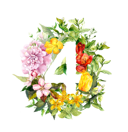 Floral number 4 - four from flowers. Watercolor numeral Stock Photo