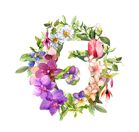 Floral numeral 5 - five from flowers and herbs. Watercolor. Stock Photo