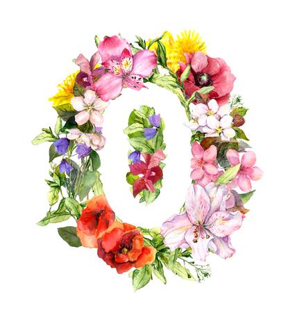 Numéro floral - zéro de fleurs de prairie, herbe. Aquarelle