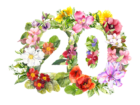 Floral number 20 twenty from wild flowers and meadow grass. Watercolor for birthday card