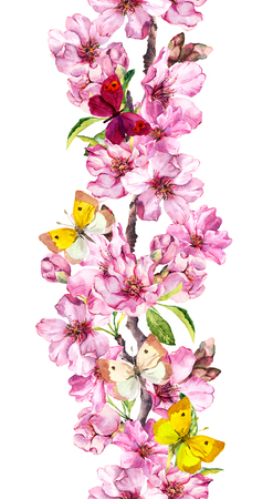 Apple, cherry pink flowers, spring butterflies. Seamless floral stripe frame. Botanical watercolour painted border