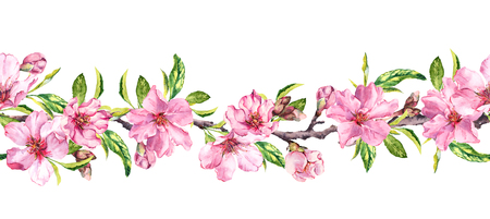 Apple, cherry pink flowers. Seamless floral stripe frame. Botanical watercolour painted border Stok Fotoğraf