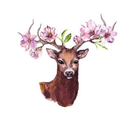 Deer animal head with pink apple, spring cherry flowers, flowering sakura in horns. Watercolor