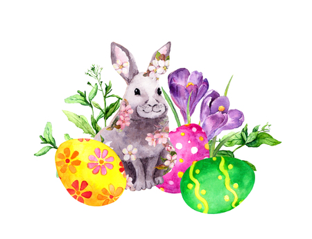Easter bunny in pink flowers with colored eggs, grass, crocus flowers. Watercolor