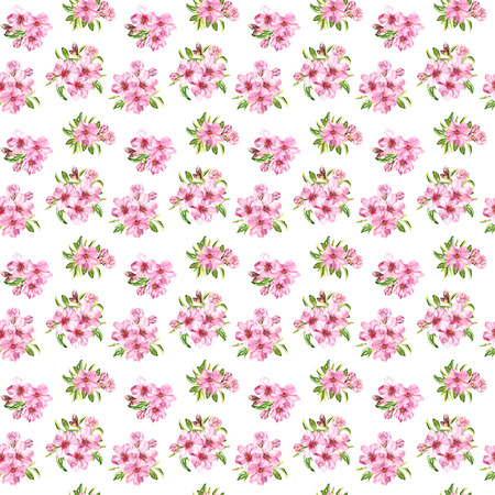 Spring flowers blossom sakura, cherry or apple tree. Floral seamless pattern. Water color