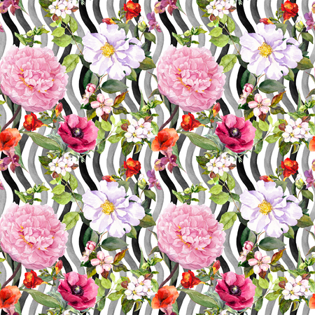 Flowers, leaves, grass at monochrome striped background. Seamless floral pattern. Watercolor 免版税图像