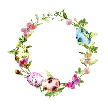 Easter wreath with colored eggs in grass, flowers. Round frame. Watercolor