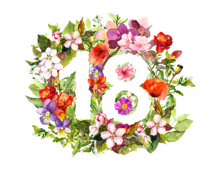 Floral number 18 eighteen from flowers and grass. Watercolor Zdjęcie Seryjne