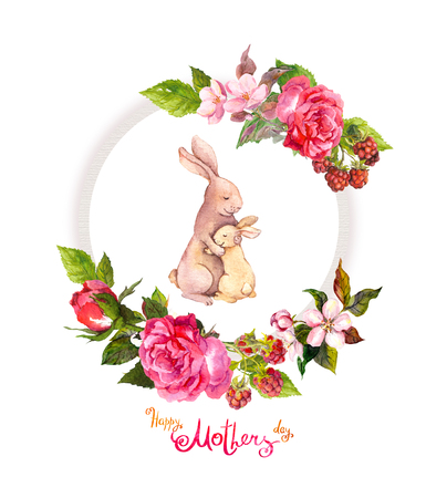 Floral wreath with roses, pink flowers, berries. Watercolor circle frame. Greeting card