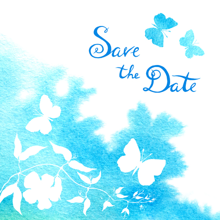 Watercolor blot and flow. Wedding card with butterflies, save the date text. Stock Photo