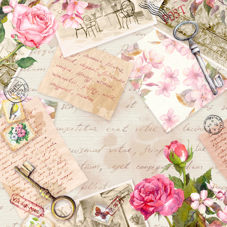 Vintage old paper with hand written letters, photos, stamps, keys, watercolor rose flowers. Card or blank design