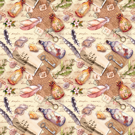 Vintage background with herbarium, exploring collection: feathers, sea shells, flowers, glass bottles. Retro design: old paper, notes. Seamless pattern. Watercolor