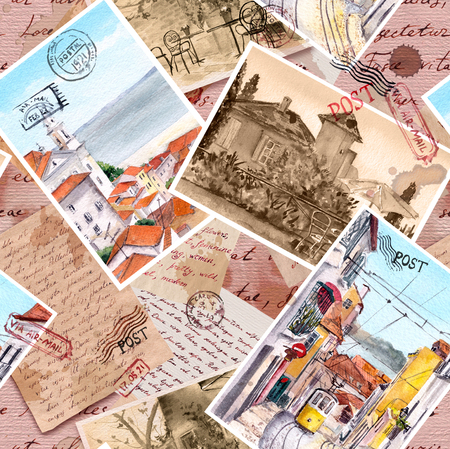 Hand written letters, vintage photo, travel post cards, postal stamps. Repeating retro pattern, aged paper texture