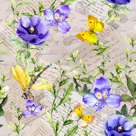 Hand written letters, postal stamps, field flowers and grasses. Seamless pattern at vintage old paper