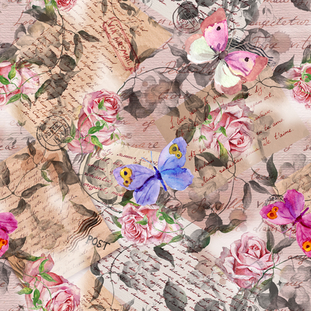 Hand written letters, stamps, rose flowers, butterflies. Vintage repeating pattern at aged paper