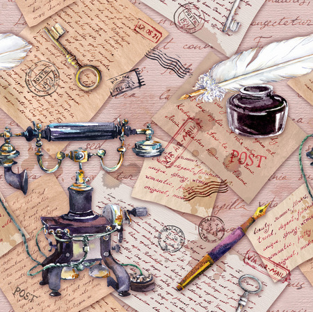Vintage telephone, ink bottle, pen, written feather, aged paper, old letters, handwritten text, vintage keys. Seamless pattern. Watercolor Stock Photo