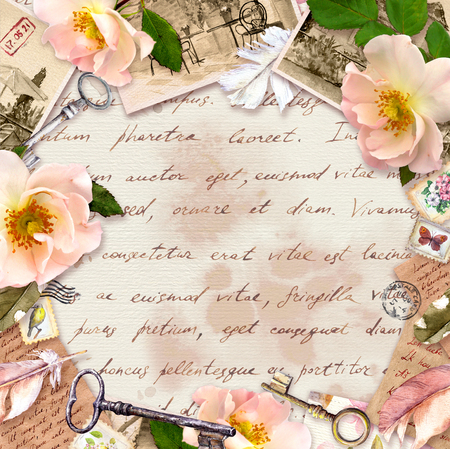 Vintage frame, retro design, Old paper, roses flowers, notes, watercolor feathers, keys. Card with empty space for your text