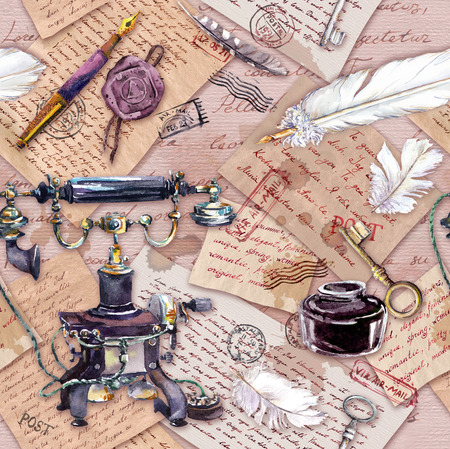 Vintage telephone, ink bottle, pen, written feather, aged paper, old letters, hand written text, vintage keys. Seamless pattern. Watercolor