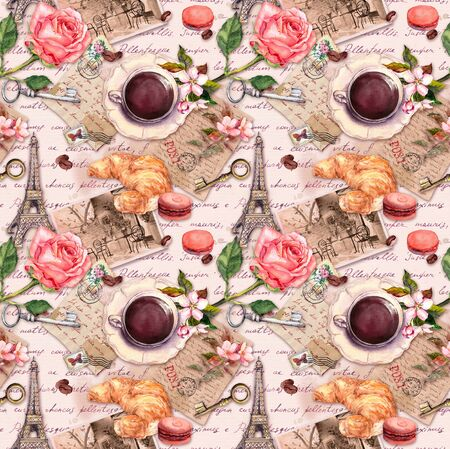 Hand written letters, Eiffel Tower, coffee or tea cup, macaroon cakes, rose flowers, stamps and keys. Vintage seamless pattern