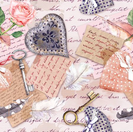 Vintage aged paper, flowers, hand written letters, keys, roses, pink textile hearts. Seamless background
