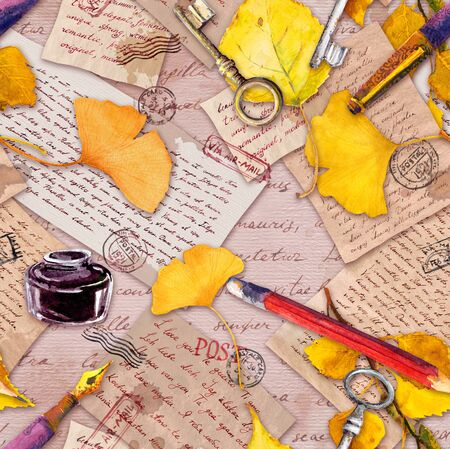Autumn yellow leaves, old paper, letters, hand written notes and vintage keys, pen, pencil, ink bottle. Seamless pattern. Watercolor