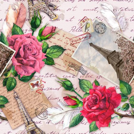 Hand written letters, vintage photo of Eiffel Tower, rose flowers, postal stamps and feathers. Seamless pattern about France and Paris