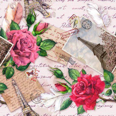 Lettere scritte a mano, foto d'epoca della Torre Eiffel, fiori di rosa, francobolli postali e piume. Modello senza cuciture su Francia e Parigi